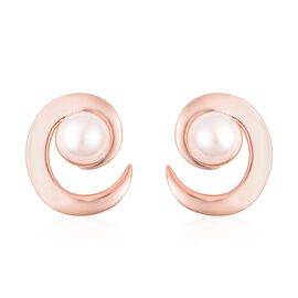 LucyQ Freshwater White Pearl (Rnd 8-9 mm) Earrings (with Push Back) in Rose Gold Overlay Sterling Si