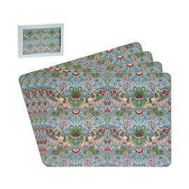 Set of 4 - Lesser & Pavey - Willam Morris Strawberry Thief Teal Placemats (29x21.5cm)