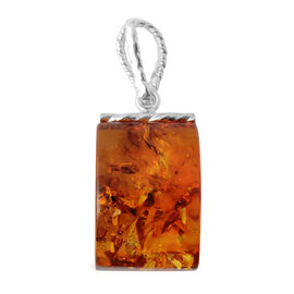 Very Rare - Baltic Amber Barrel Shape Pendant in Sterling Silver