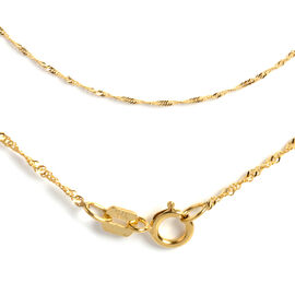 Italian Made 18 Inch Twisted Singapore Chain Necklace in  9K Gold 1 Grams