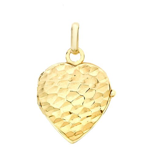 9K Yellow Gold Hammered Heart Pendant