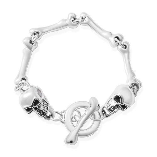 Sterling Silver Skull and Bone Design Bracelet (Size 8), Silver wt 14.74 Gms