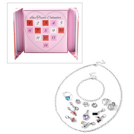 14 Piece Set- Multi Gemstone Charms (6 Pcs), Beads (3 Pcs), Ring (Size N), Earrings, Necklace (Size