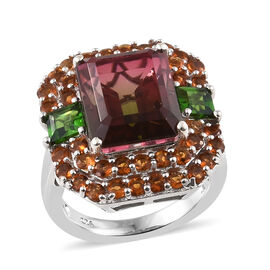 Finch Quartz (Oct 7.00 Ct), Madeira Citrine, Russian Diopside Ring in Platinum Overlay Sterling Silv