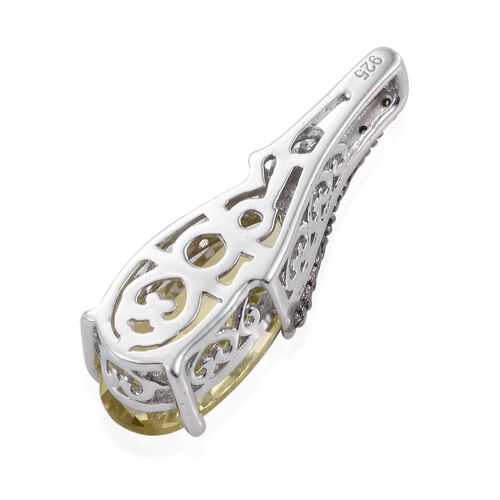 (Option 1) Natural Green Gold Quartz (Pear), Black Diamond Pendant in Platinum Overlay Sterling Silver 4.000 Ct.