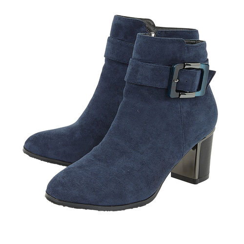 Lotus CHARLOTTE Heeled Ankled Boots with Buckle (Size 5) - Navy