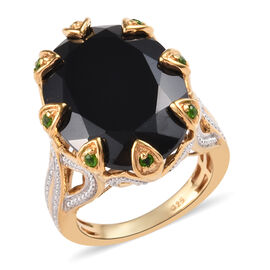 Natural Boi Ploi Black Spinel (Ovl 20x15 mm), Russian Diopside Ring in 14K Gold Overlay Sterling Sil