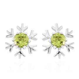 Hebei Peridot (Rnd) Earrings (with Push Back) in Platinum Overlay Sterling Silver 1.000 Ct.