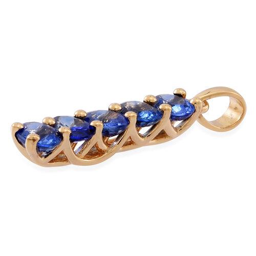 ILIANA 18K Yellow Gold AAA Ceylon Blue Sapphire (Ovl) 5 Stone Pendant 2.000 Ct.