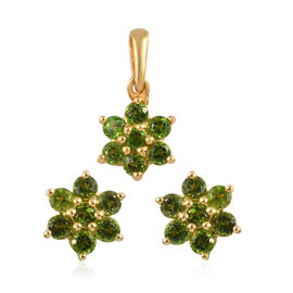 2 Piece Set -  Russian Diopside Floral Stud Earrings (with Push Back) and Floral Pendant in 14K Gold