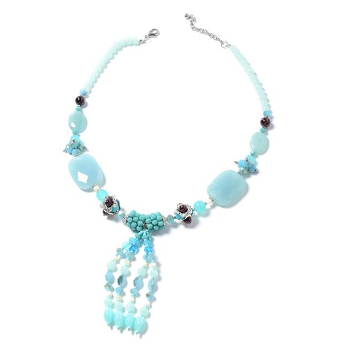Blue Agate, Indian Garnet, Simulated Aquamarine, Blue Quartzite, White Shell, Simulated Grey Moonstone and Multi Colour Beads Necklace (Size 24 with 2.50 inch Extender) in Silver Plated