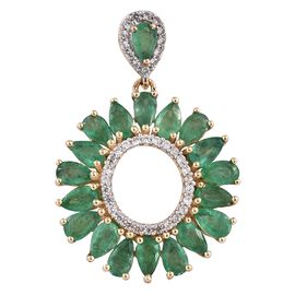 4 Carat Zambian Emerald and Cambodian Zircon Drop Pendant in 9K Gold 2.89 Grams