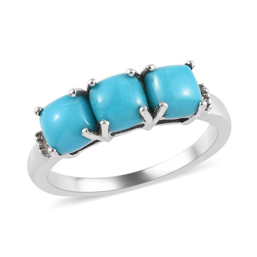 Sleeping Beauty Turquoise and Diamond Trilogy Ring in Platinum Plated Silver 1.79 Ct