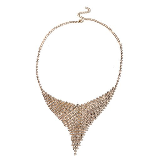 White Austrian Crystal (Rnd) Necklace (Size 17 with 5 Inch Extender) and Earrings (with Push Back) in Gold Plated