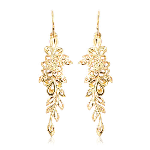 LucyQ Leaf Dangle Earrings in Gold Plated Silver 6.23 Grams