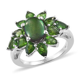 4 Carat AA Canadian Ammolite and Diopside Floral Ring in Platinum Plated Sterling Silver