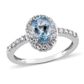 Aquamarine and Natural Cambodian Zircon Ring in Platinum Overlay Sterling Silver 1.45 Ct.