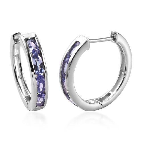 1.75 Ct Tanzanite Hoop Earrings in Platinum Plated Sterling Silver