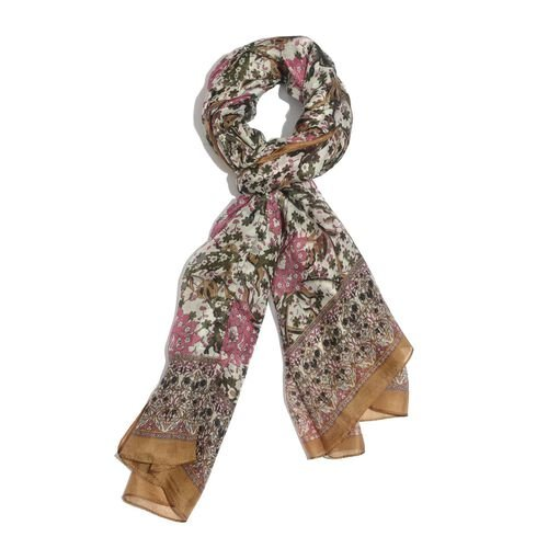 100% Mulberry Silk Pink and Multi Colour Floral Pattern Chocolate Colour Scarf (Size 180x100 Cm)