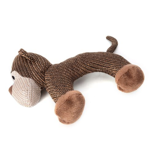 Black Colour Pet Pull Wire with LED Light and Brown Colour Pet Soft Toy Dog Pattern (Size 29x20 Cm)
