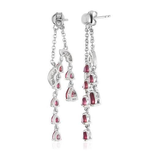 Designer Inspired-African Ruby (Pear), Diamond Earrings (with Push Back) in Platinum Overlay Sterling Silver 4.270 Ct, Silver wt 5.00 Gms.