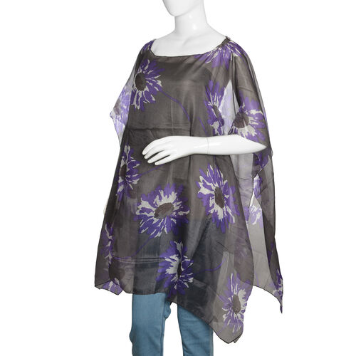 100% Mulberry Silk Grey, Purple and White Colour Handscreen Floral Printed Kaftan (Free Size)