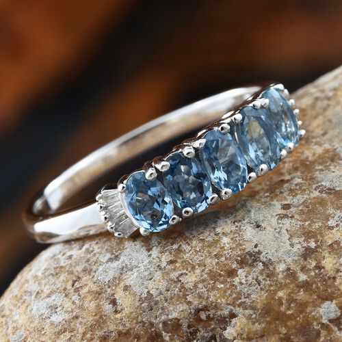 9K White Gold AA Santa Maria Aquamarine (Ovl), Diamond Ring 1.200 Ct.