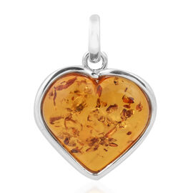 One Time Deal-  Extremely Rare Size Amber (Hrt 30.50x27.50mm) Pendant in Sterling Silver 30.00 Ct. Silver wt 5.70 Gms.