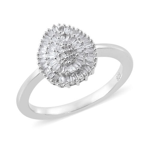 Diamond (Rnd and Bgt) Ring, Pendant with Adjustable Chain (Size 20) and Stud Earrings (with Push Back) in Platinum Overlay Sterling Silver 1.150 Ct. Silver wt 5.80 Gms. Number of Diamonds 292