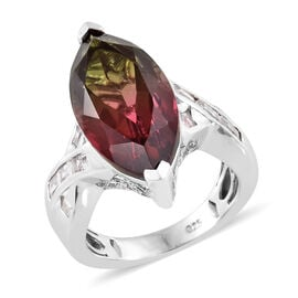 Finch Quartz (Mrq 7.00 Ct), White Topaz Ring in Platinum Overlay Sterling Silver 9.750 Ct, Silver wt