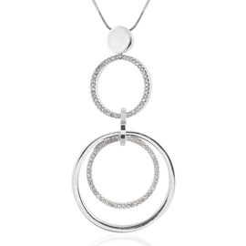 White Austrian Crystal (Rnd) Pendant With Chain (Size 30 and 2 inch Extender) in Silver Tone