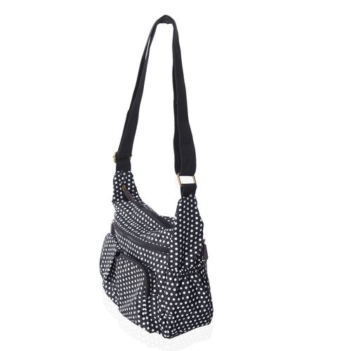 Annabelle Water Resistant Black White dots Cross Body Bag with Adjustable Shoulder Strap (Size 26x25x10 Cm)