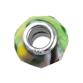 Charmes De Memoire Multi Colour Murano Glass Bead Charm in Platinum Plated Sterling Silver