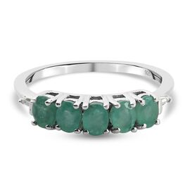 Kagem Zambian Emerald and Natural Cambodian Zircon Ring in Platinum Overlay Sterling Silver