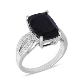 7.95 Ct Boi Ploi Black Spinel Solitaire Ring in Rhodium Plated Silver