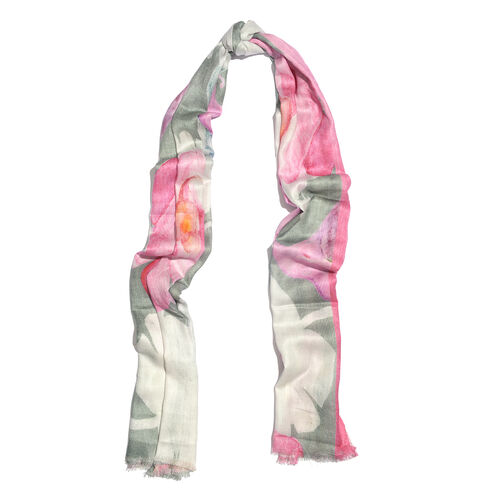 100% Modal Pink, White and Multi Colour Flower Digital Printed Scarf (Size 200x70 Cm)