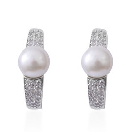 ELANZA Pearl (Rnd), Simulated Diamond Earrings (with Clasp Lock) in Rhodium Overlay Sterling Silver