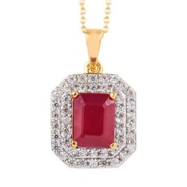 African Ruby (Oct), Natural Cambodian Zircon Pendant With Chain in 14K Gold Overlay Sterling Silver
