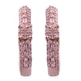 9K Rose Gold Natural Pink Diamond (Rnd and Bgt) Hoop Earrings 0.500 Ct.