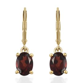 Mozambique Garnet (Ovl) Lever Back Earrings in 14K Gold Overlay Sterling Silver 2.00 Ct.