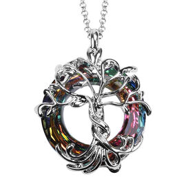 Simulatecd Mystic Topaz Pendant with Chain in Stainless Steel