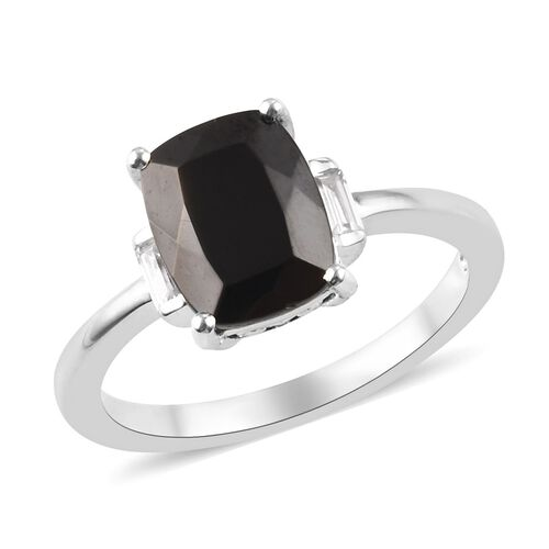 1.14 Ct Elite Shungite and Zircon Solitaire Ring in Platinum Plated Sterling Silver