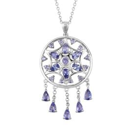 LucyQ Tanzanite (Pear and Rnd) Dream Catcher Necklace (Size 20) in Rhodium Overlay Sterling Silver,