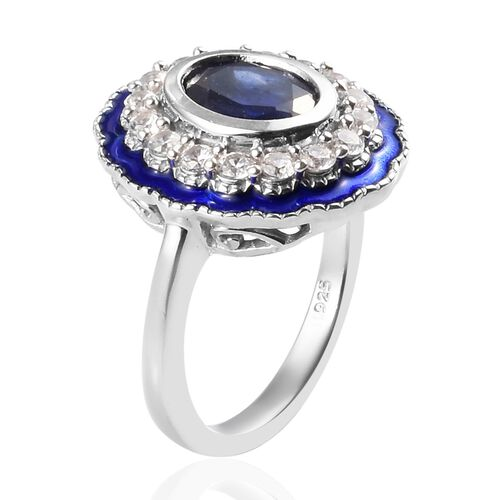 Masoala Sapphire and Natural Cambodian Zircon Enamelled Ring in Platinum Overlay Sterling Silver 3.50 Ct, Silver wt 5.00 Gms