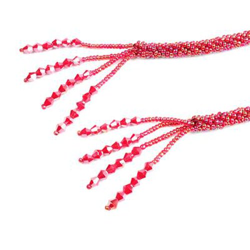 Designer Inspired- TJC Launch - Red Magic Colour Beads Open End Necklace (Size 58)