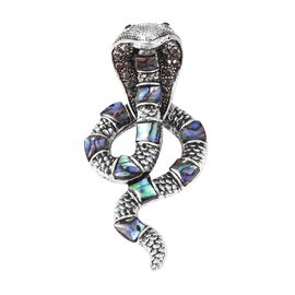 Abalone Shell and Hematite Colour Austrian Crystal Serpent Brooch