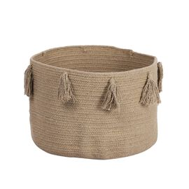 100% Cotton Braided Multipurpose Beige Basket With Tassels (45x45x30cm)