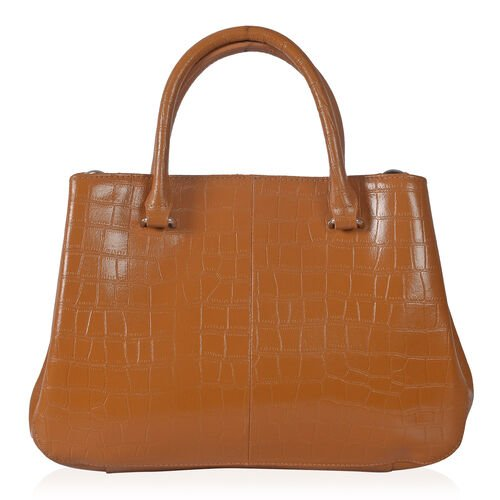 Close Out Deal Premium100% Genuine Leather  Croc Embossed Italian Tan Colour Large Tote Bag (Size 32x25 Cm)
