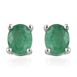 Kagem Zambian Emerald (Ovl) Solitaire Stud Earrings (with Push Back) in Platinum Overlay Sterling Silver 0.500 Ct.