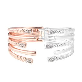 White Austrian Crystal (Rnd) Cuff Bangle (Size 7) in Silver and Rose Tone